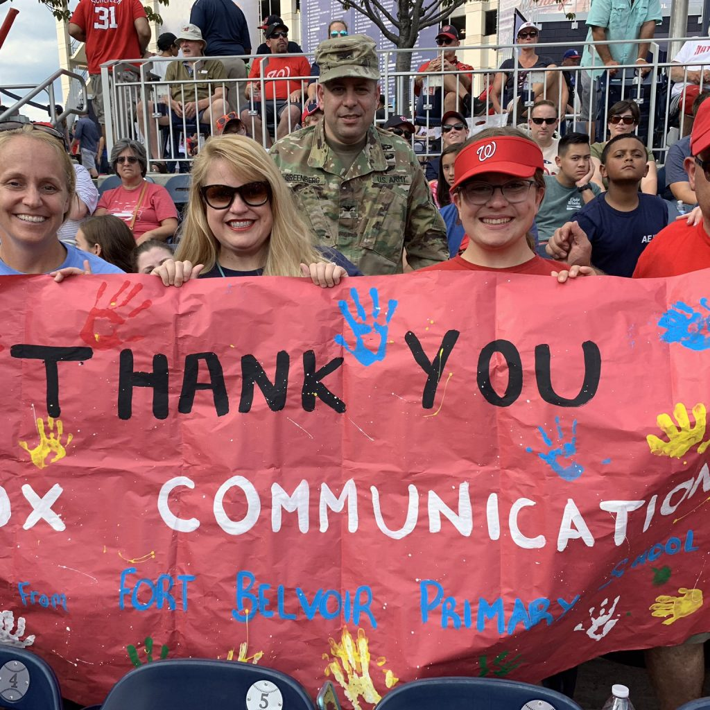 Fort Belvoir Elementary students and their families enjoyed a day at Nats Park thanks to the generosity of Cox Business