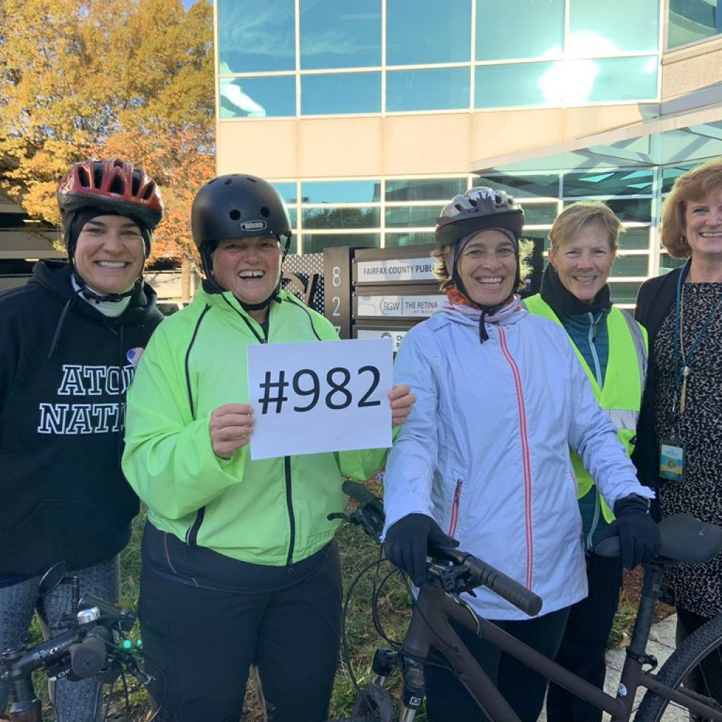 FCPS employee Evie Ifantides completed 1,000 bike rides to work.  Co-workers donated in her honor to help fund Safe Routes to School for kids