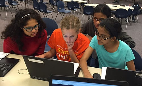 Photo of Middle school all girls CyberPatriot team